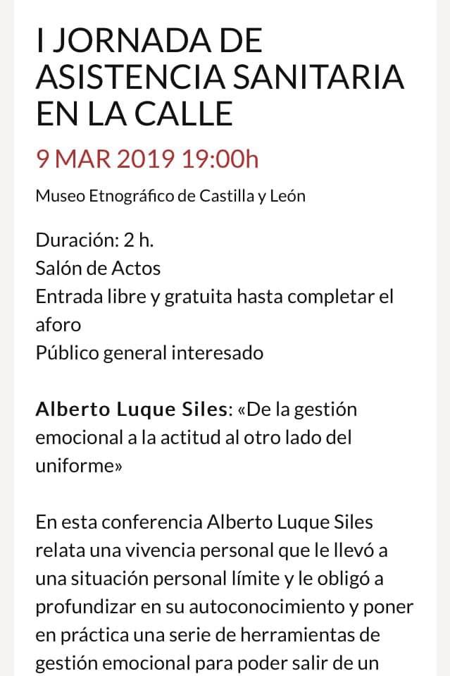 Conferencia en la I JORNADA DE ASISTENCIA SANITARIA EN LA CALLE organizado por Museo Etnográfico de Castilla y León.