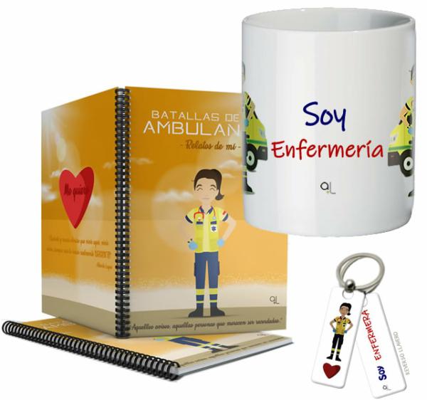 Cuaderno Keka uniforme + Llavero Keka Enfermería + Taza Enfermería