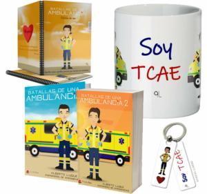 Libros Batallas de una ambulancia 1 y 2 + Cuaderno Keka uniforme + Llavero Keka TCA + Taza TCA