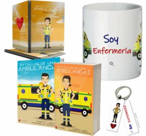 Libros Batallas de una ambulancia 1 y 2 + Cuaderno Keka uniforme + Llavero Keka ENFERMERÍA + Taza ENFERMERÍA