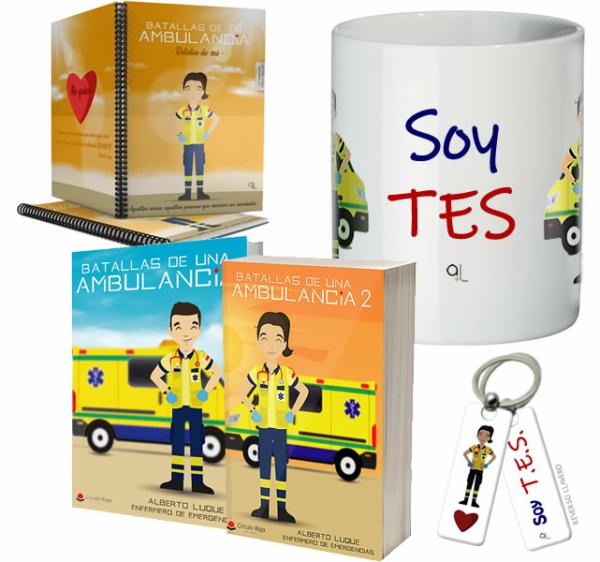 Libros Batallas de una ambulancia 1 y 2 + Cuaderno Keka uniforme + Llavero Keka TES + Taza TES