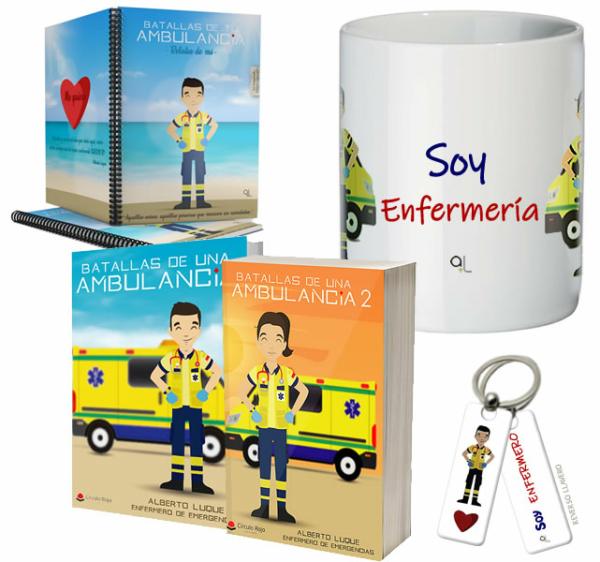 Libros Batallas de una ambulancia 1 y 2 + Cuaderno Keko uniforme + Llavero Keko ENFERMERO + Taza ENFERMERO