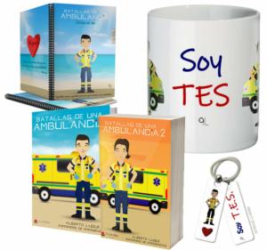 Libros Batallas de una ambulancia 1 y 2 + Cuaderno Keko uniforme + Llavero Keko TES + Taza TES